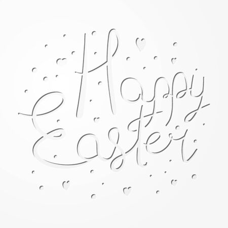Festive paper cut Happy Easter text design for congratulation cards Vectores