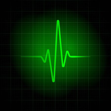 Green medical background. Heartbeat line illustration for design