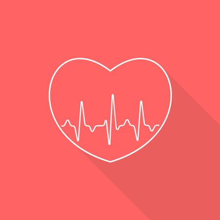 White outlined heart sign with pulse line on red background. Illustration