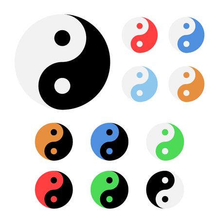 Set of different colors yin and yang icons illustration