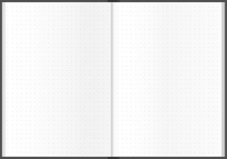Dotted sheet notebook design illustration. Paper background.