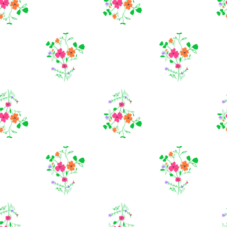 Simple flower bouquet seamless floral pattern on white background Illustration