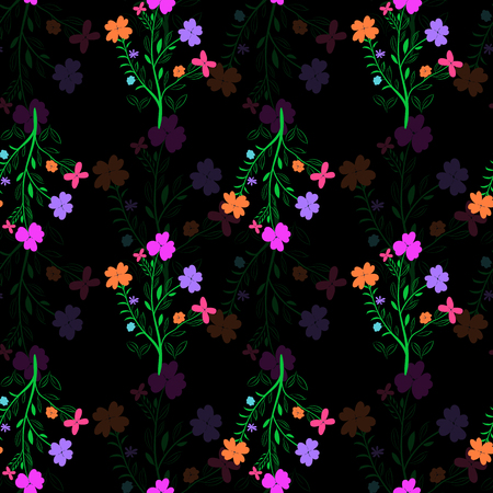 Bright vivid abstract seamless pattern on dark background