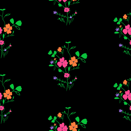 Bright seamless spring floral pattern on black background
