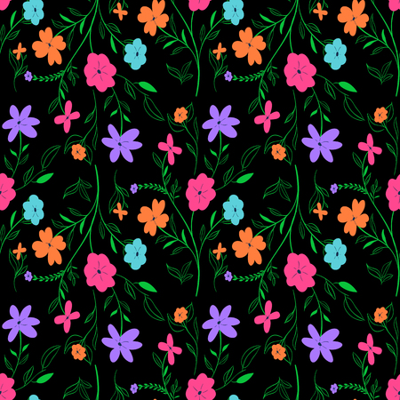 Vivid seamless floral pattern with colorful flowers Illustration