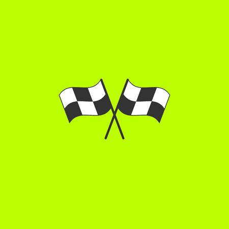 Crossed checkered flags  on green background.