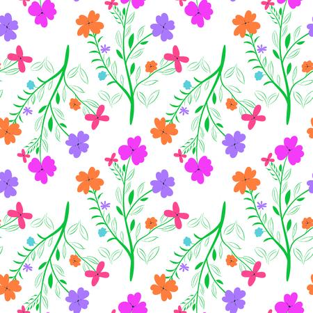 Vivid seamless flowered pattern on white background