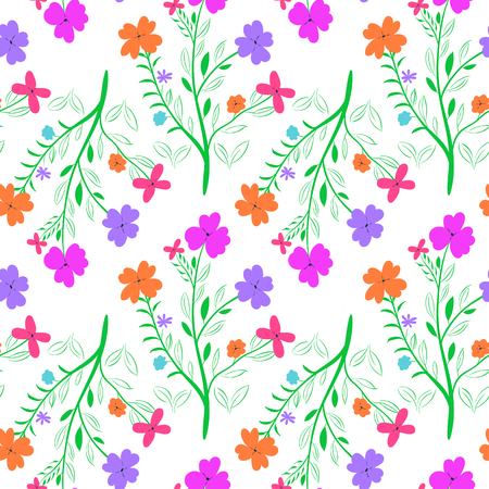 Vivid seamless flowered pattern on white background
