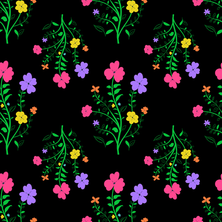 Colorful floral seamless pattern on black background