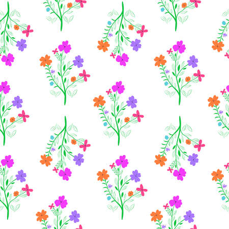 Bright hand drawn flowers on white background. Floral seamless pattern