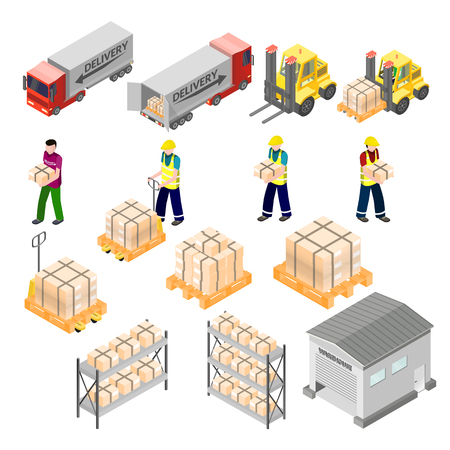 Isometric warehouse logistics elements. Cargo and delivery infographic. Forklift and workers, truck and storehouse 3d icons Иллюстрация