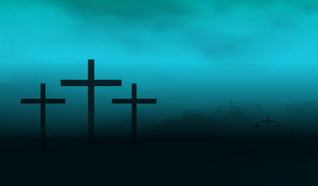 Silhouette of crucifixes in a mist. Cross graves in the fog Illustration