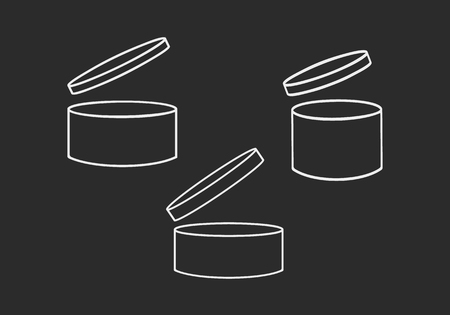 Containers or jars set on black background Vector illustration. Vectores