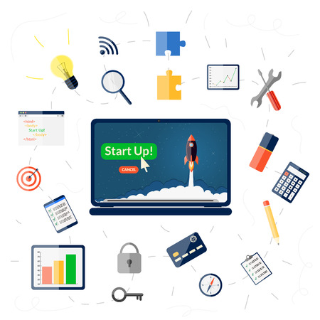 Business start up concept with flat icons set Illustration
