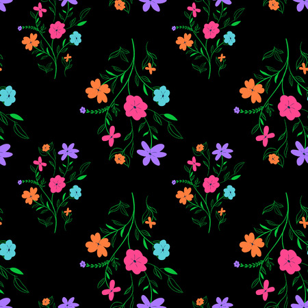 Vivid seasonal flower texture abstract seamless floral pattern. Vettoriali