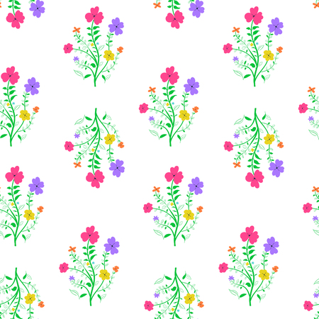 Repeating flowered background, loopable seamless floral pattern. Vettoriali