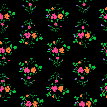 Hand drawn seamless floral pattern on black background.