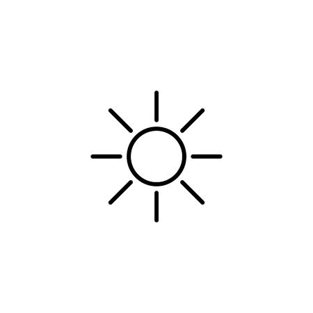 Simple sun line icon isolated on white background Vector illustration. Stock Illustratie