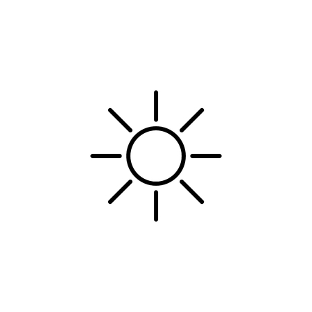 Simple sun line icon isolated on white background Vector illustration. Ilustração