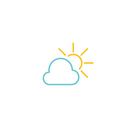Simple blue cloud and yellow sun icon Çizim