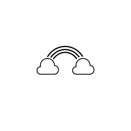 Simple clouds and rainbow isolated line icon Ilustrace
