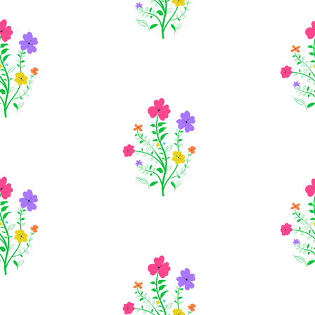 Seamless spring floral pattern on white background