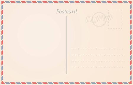 Blank travel card background. Postcard design illustration Illustration