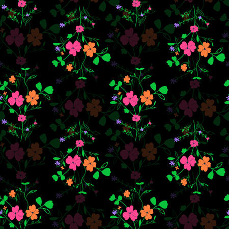 Abstract seamless floral fabric pattern on black background