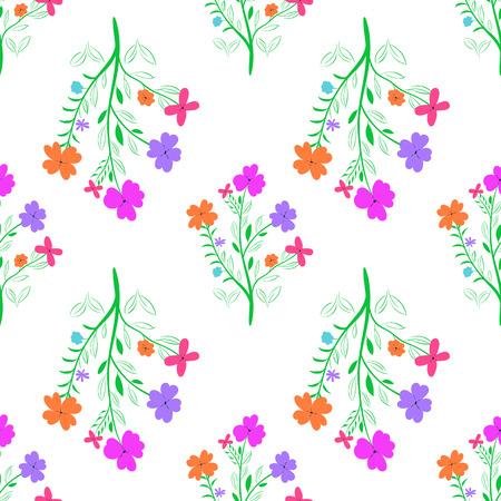 Vivid floral pattern. Seamless flowered background for design