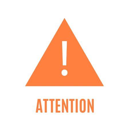 Simple orange attention triangular sign with sharp corners
