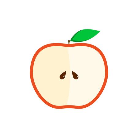 Half of red apple flat illustration for design