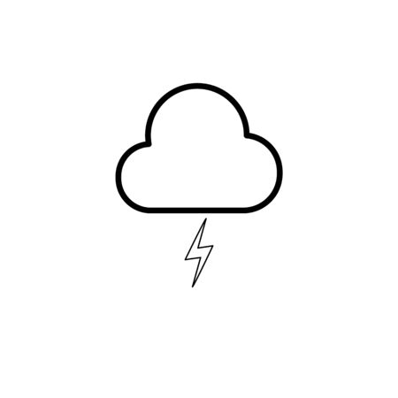 Simple cloud and lighting line icon for design