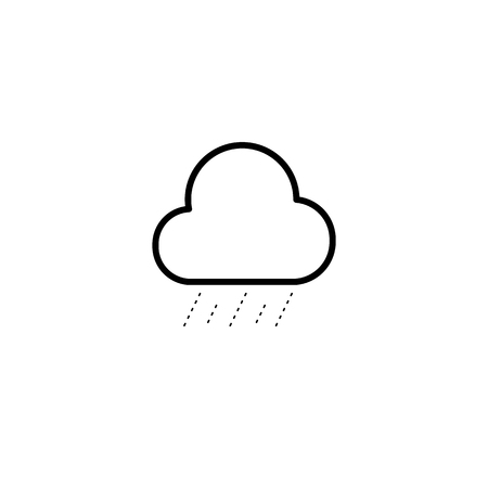 Simple cloud and drizzle line icon isolated on white background