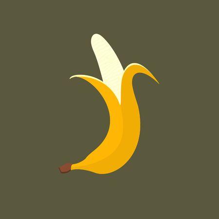 Simple banana illustration. Ripe musa acuminata fruit