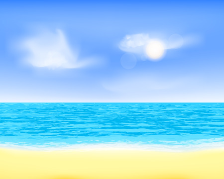 Peaceful sea beach view. Quiet breeze, clouds and sand plage illustration Иллюстрация