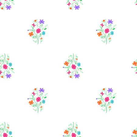 Simple light loppable floral pattern on white background Vettoriali