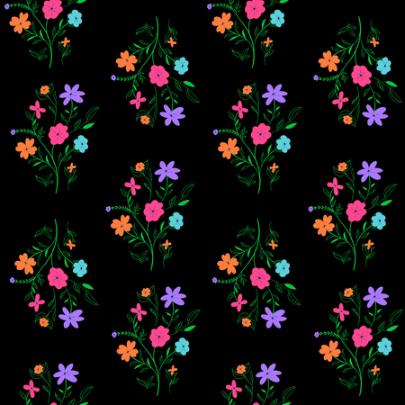 Seamless floral pattern with vivid colorful flowers