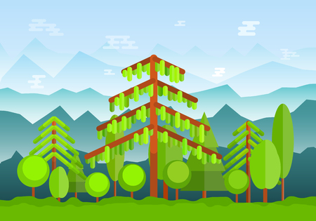 Green forest landscape with high foggy mountains on background. Flat nature backdrop. Illustration