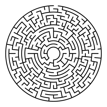 Maze labyrinth. Circular game isolated on background. Illustration