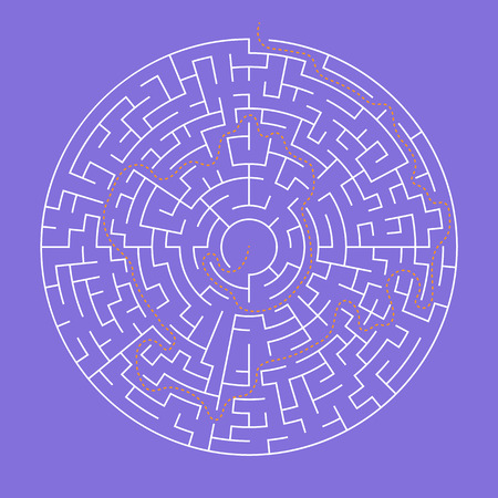 Round big labyrinth game with solution path Illustration