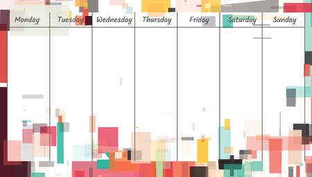 Weekly memo planner template illustration. Illustration