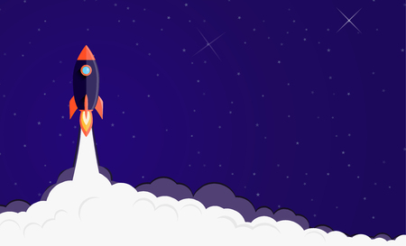 Space rocket launching background. Illustration
