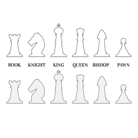 White chess pieces illustration.