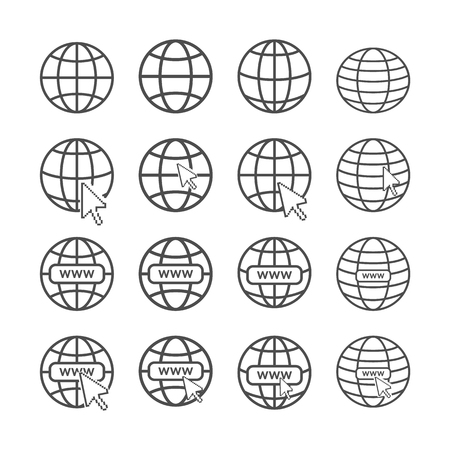 Set of internet favicons. Collection of global net icons with pixalated arrow cursor Illustration