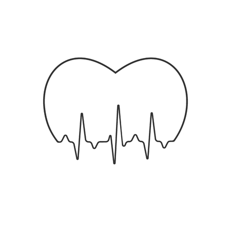Stylized medical logo illustration with pulse and heart. Heartbeat sign Illustration