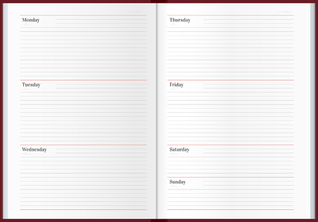Striped weekly planner template. Business notebook illustration
