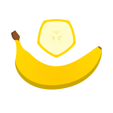 Ripe banana and slice piece of this fruit