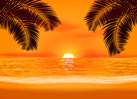 Relaxation glowing sunset on a tropical beach illustration. Seasonal evening background Illustration