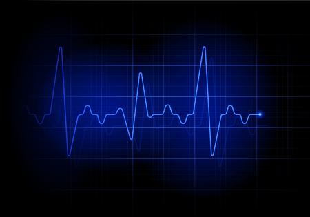 Blue futuristic heartbeat line background. Earthquake sign illustration