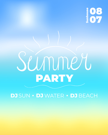 Summer party banner design template. Beach background